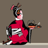 Japan geisha with tea Royalty Free Stock Images