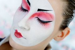 Japan geisha woman with creative make-up Royalty Free Stock Photo