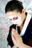 Japan geisha woman with creative make-up Stock Photos