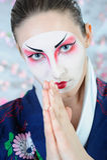 Japan geisha woman with creative make-up. Stock Images