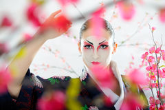 Japan geisha woman with creative make-up. Royalty Free Stock Image