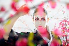 Japan geisha woman with creative make-up. royalty free stock image