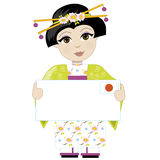 Japan Girl Sign. A little girl is dressed in a traditional Japanese costume and holding a sign that looks like a big letter with the Japanese flag in the upper Royalty Free Stock Photo