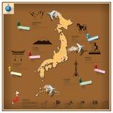 Japan gränsmärkeaffär och lopp Infographic Arkivbild