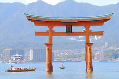 Japan : Great Torii. Itsukushima Shrine is a Shinto shrine on the island of Itsukushima (popularly known as Miyajima), best known for its floating torii gate. It Royalty Free Stock Photos