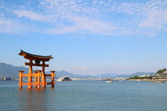Japan : Great Torii. Itsukushima Shrine is a Shinto shrine on the island of Itsukushima (popularly known as Miyajima), best known for its floating torii gate. It Royalty Free Stock Photography