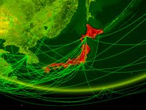 Japan on green model of planet Earth with network representing digital age, travel and communication. 3D illustration. Elements of vector illustration