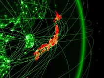 Japan on green Earth vector illustration