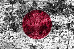 Japan grunge rusted metal texture flag, rust metal background.  royalty free illustration