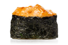 Japan gunkanmaki sushi baked with cheese isolated Stock Images