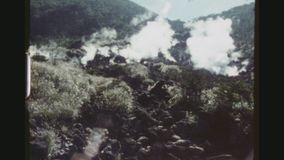 Fuji Volcanic Hot Springs. JAPAN, HAKONE, APRIL 1978. Two Shot Sequence At The Fuji Hakone Izu National Park. Volcanic Hot Springs stock footage