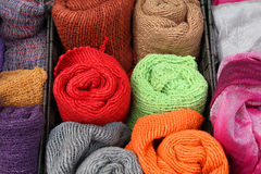 Japan handicraft. Wool scarves - Japanese handicraft at a market stall in Kyoto, Japan Stock Photo