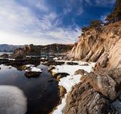 Japan hav i vinter Arkivbild