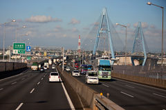 Japan Highway viaduct. Into the design of the landscape and the natural harmony, priority was given to the natural and social environment impact assessment and Stock Photography