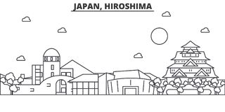 Japan, Hiroshima architecture line skyline illustration. Linear vector cityscape with famous landmarks, city sights Royalty Free Stock Photography