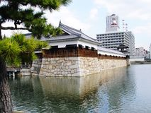 Japan Hiroshima Castle. A city of southwest Honshu, Japan, on the Inland Sea west of Osaka. Founded in the 16th century, it was destroyed in World War II by the Royalty Free Stock Photos