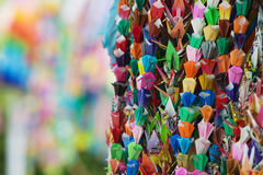 Japan Hiroshima Peace Memorial Park colorful paper cranes close-up Stock Photography