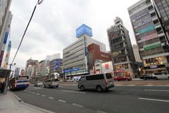 Japan Hiroshima street view. Street view in Hiroshima, Japan. Hiroshima is the capital of Hiroshima Prefecture and the largest city in the Chūgoku region of Stock Photo