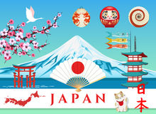 Japan holiday travel landscape. Asian japanese tourism landmarks and symbols for vacation concept vector illustration Royalty Free Stock Photo