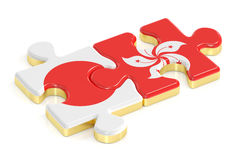 Japan and Hong Kong puzzles from flags, 3D rendering Royalty Free Stock Photo