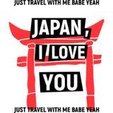 Japan, ich liebe dich Plakat mit rotem Torii Stockfotografie