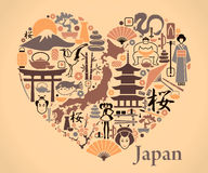 Japan icons in the form of a heart Stock Images