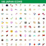100 japan icons set, cartoon style. 100 japan icons set in cartoon style for any design illustration royalty free illustration