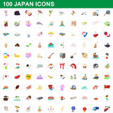 100 japan icons set, cartoon style. 100 japan icons set in cartoon style for any design vector illustration stock illustration