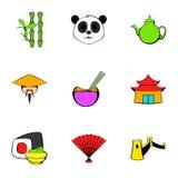 Japan icons set, cartoon style. Japan icons set. Cartoon illustration of 9 japan vector icons for web Stock Image