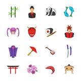 Japan icons set cartoon. Japan icons set in cartoon style isolated on white background vector illustration Stock Image