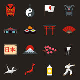 Japan icons set, flat style Royalty Free Stock Photography