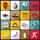 Japan icons set, flat style Royalty Free Stock Image