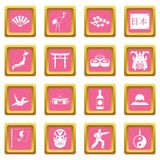 Japan icons pink Stock Images