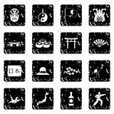 Japan icons set, simple style Stock Photos
