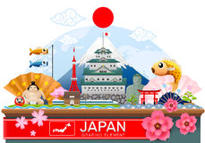 Japan infographic travel place and landmark Vector. Illustration Stock Image