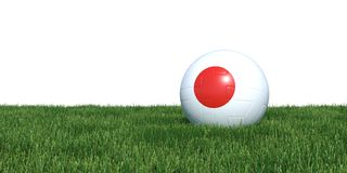 Japan Japanese flag soccer ball lying in grass world cup 2018. Isolated on white background. 3D Rendering, Illustration Stock Photography