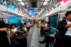 Japan: JR train above ground Stock Images