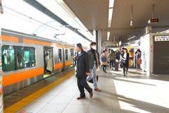 Japan: JR train above ground Royalty Free Stock Photos