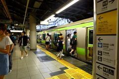 Japan: JR train above ground Stock Photo