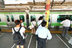 Japan: JR train above ground Stock Photo