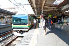 Japan: JR train arriving Royalty Free Stock Images