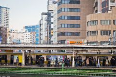 Japan JR Train platform Royalty Free Stock Images