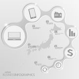 Japan-Karte und Elemente Infographic Vektor Lizenzfreie Stockbilder