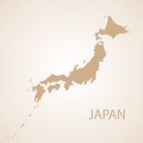 Japan-Kartenbraun-Vektorillustration Lizenzfreie Stockfotografie