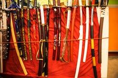 Japan Katana Swords på festivalen av Orienten i Rome Italien Royaltyfria Foton