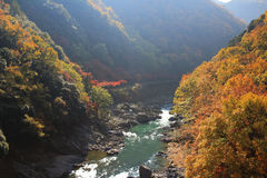 Japan on the Katsura River during the autumn Stock Images