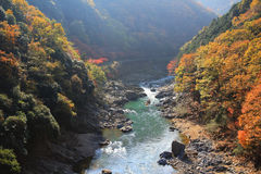 Japan on the Katsura River during the autumn Stock Image