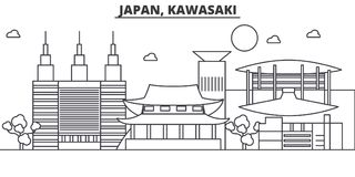 Japan, Kawasaki architecture line skyline illustration. Linear vector cityscape with famous landmarks, city sights vector illustration
