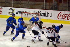 Japan - Kazahstan U 20 ice hockey match Stock Photos