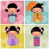 Japan kids girl cartoon. Japan kids cartoon cute illustrations concept colorful Stock Photography